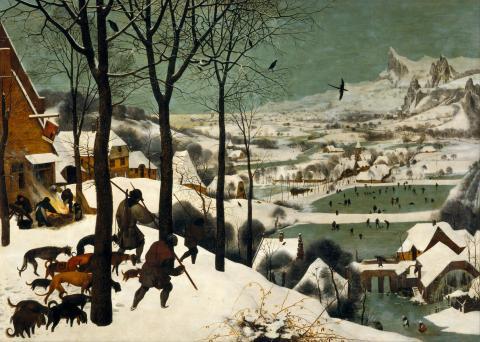Fotografia: Powrót z polowania - Myśliwi na śniegu